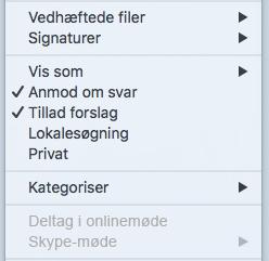 Mødemenuen i Skype-møde er deaktiveret