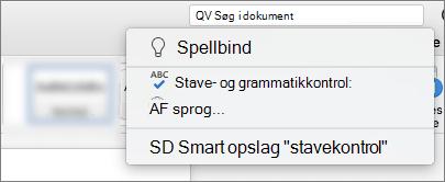 Fortæl mig søgefeltet i Word til Mac 2016