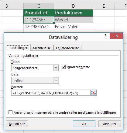 Eksempel 6: Formler i datavalidering
