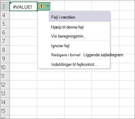 Rulleliste, der vises ud for ikonet spor værdi