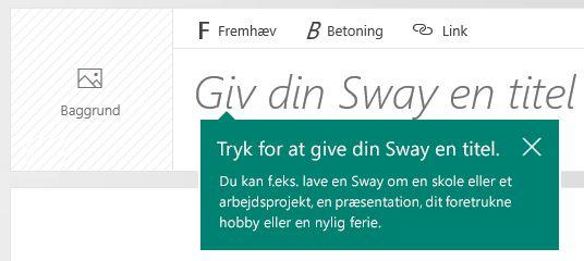 Titelprompten på Sway-historie