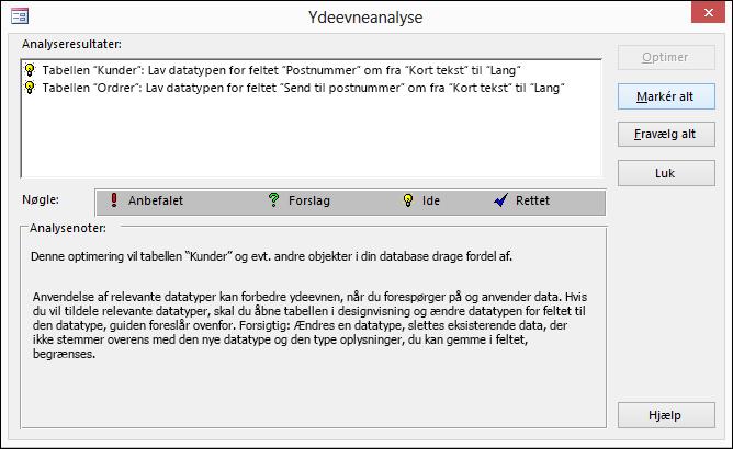 Dialogboks med resultater af Ydeevneanalyse, når denne er kørt på en Access-database.