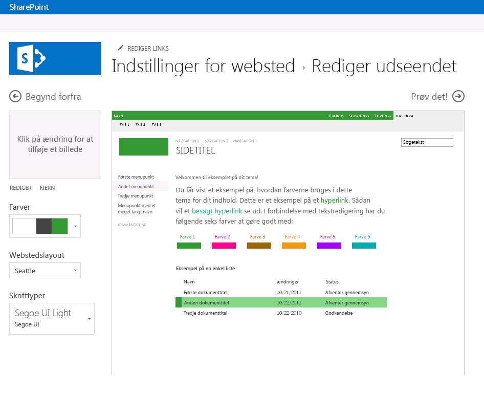 Ændre farven, layoutet og temaet for et SharePoint-publiceringswebsted
