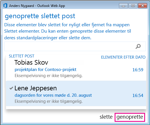 Dialogboksen Gendan slettet post i Outlook Web App