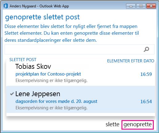 Dialogboksen Gendan slettet post i Outlook Web App
