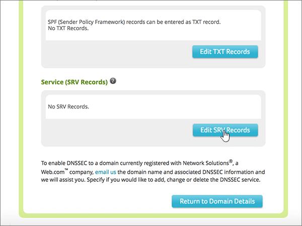 Klik på Edit SRV Records under tjeneste