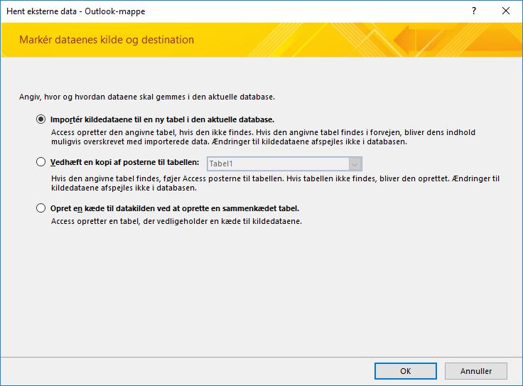 Vælg at importere, tilføje eller oprette et link til en Outlook-mappe.