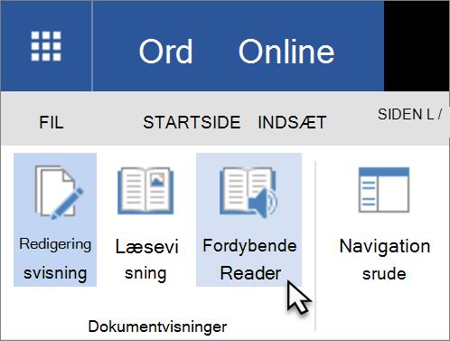 Åbn Learning funktioner i Word Web App ved at vælge fanen Vis