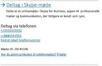 Brugergrænsefladen for deltagelse i Skype-møde