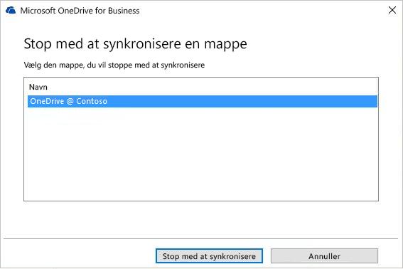 Skærmbillede af dialogboksen Stop synkronisering af en mappe