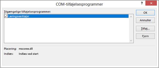 Administrere: COM-tilføjelsesprogrammer