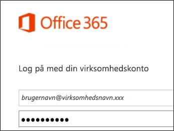 Logonskærmbillede på Office 365-portalen