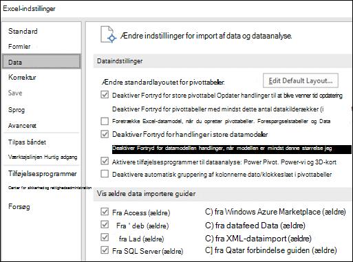 Indstillinger for data er blevet flyttet fra fil > Indstillinger > Avanceret sektion til en ny fane, der hedder Data under filer > Indstillinger.