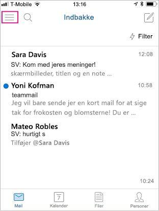 Startskærmen til Outlook Mobile med menuknappen fremhævet