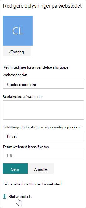 Oplysningspanel for SharePoint-websted
