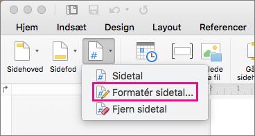 Klik på Sidetal på fanen Sidehoved og sidefod for at formatere sidetal, og klik derefter på Formatér sidetal.