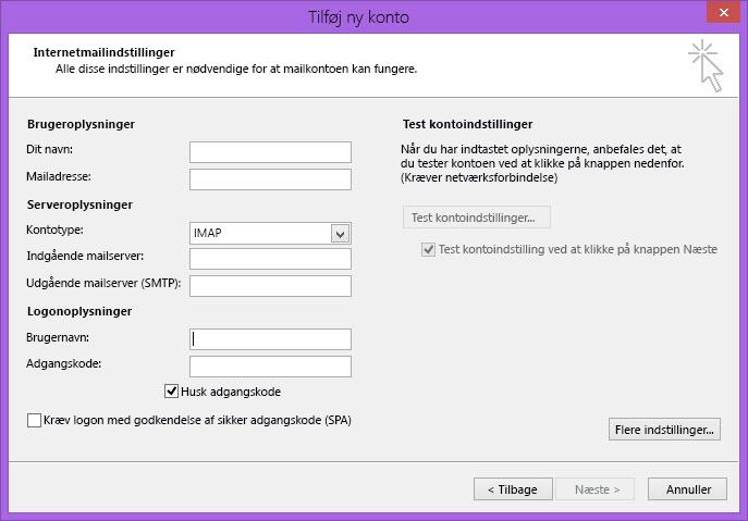 Outlook 2010 Indstillinger for internetmail