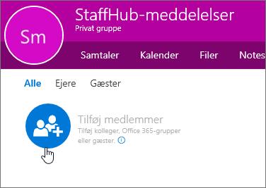 Føj medlemmer til StaffHub-gruppen i Outlook.
