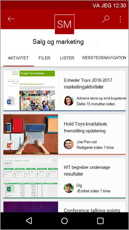 Skærmbillede af Android-mobilappen, der viser aktivitet på webstedet, fil, lister og navigation