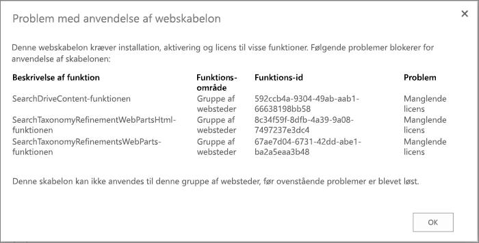 Skærmbillede af en fejlmeddelelse, der viser en fejl, du kan få, hvis utilgængelige funktioner forhindrer oprettelse af websteder i SharePoint Online.