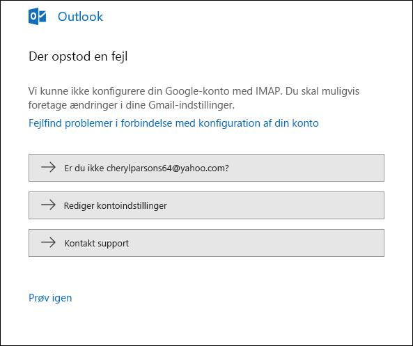 Noget gik galt under tilføjelse af en mailkonto til Outlook.