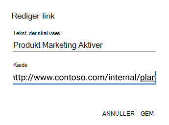 Dialogboksen linktekst til Outlook til Android