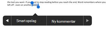 Tryk på ny kommentar efter markering af tekst i Word