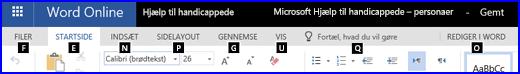 Båndet i WordOnline Redigeringsvisning viser Hurtigtaster