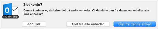 Et skærmbillede af dialogboksen Slet konto.