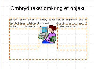 Slide med objekt indsat, tekstbokse vist og delvis tekst.