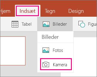Viser Indsæt billede fra kameraindstilling i Office Mobile til Windows 10