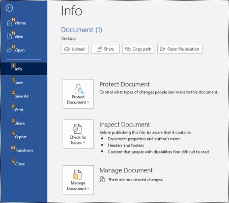 Oplysningsside i menuen filer i Word til Windows