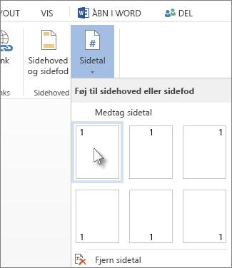 Billede af galleriet Sidetal, der åbnes, når du klikker på Sidetal på fanen Indsæt.
