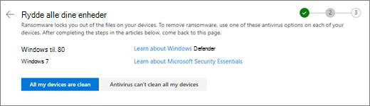 Skærmbillede af Ryd alle dine enheder skærmbilledet på OneDrive-webstedet