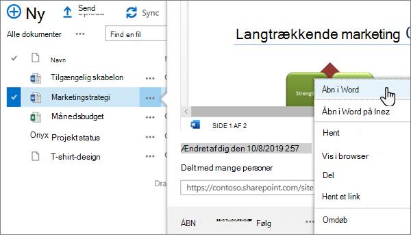 Indstillingen Åbn > Åbn i app valgt for en Word-fil i den klassiske visning af OneDrive online-portalen