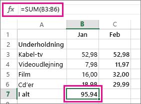 Autosum-eksempel med resultat