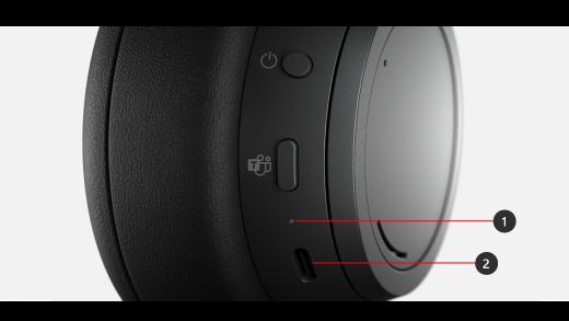LED-lys og tænd/sluk-knap på Surface Headphones