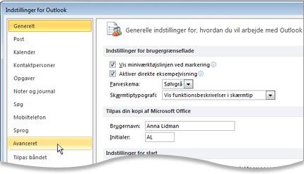 Kommandoen Avanceret i dialogboksen Indstillinger for Outlook