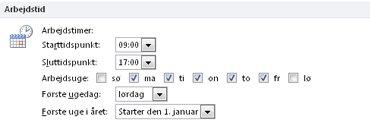 Sektionen Arbejdstid i dialogboksen Indstillinger for Outlook