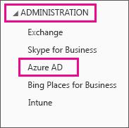 Viser Office 365-administrationsmenuen. Vælg den tredje valgmulighed, som er Azure AD.