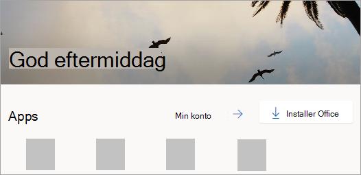 Skærmbillede af Office.com-startsiden, når du logger på