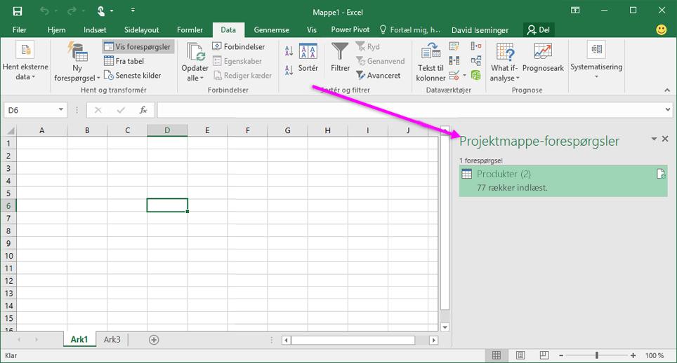 Projektmappeforespørgsler i Excel 2016