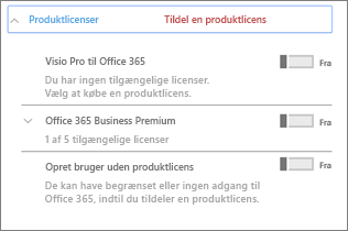 Sektionen Produktlicenser kun med Office 365 Business Premium
