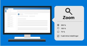 Meddelelse til venstre og Zoomværktøjer til højre