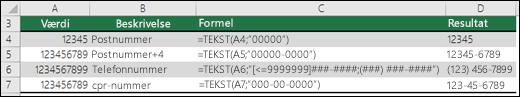 Særlige formater for funktionen TEKST