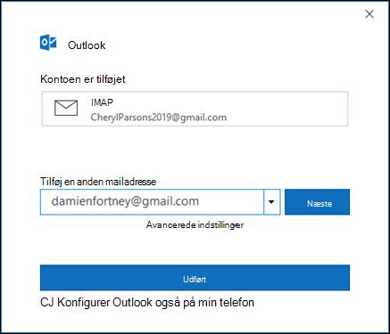 Vælg udført for at afslutte konfigurationen af din Gmail-konto.