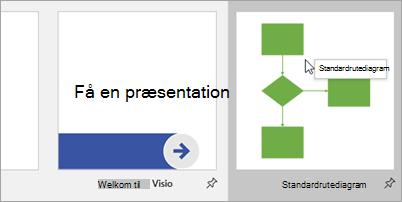Vælg Standardrutediagram, og vælg det diagram, du vil starte med.