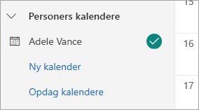 Et skærmbillede, der viser andre personers kalendere