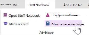 Administrere indstillinger for Medarbejdernotesbog fra fanen Medarbejdernotesbog.