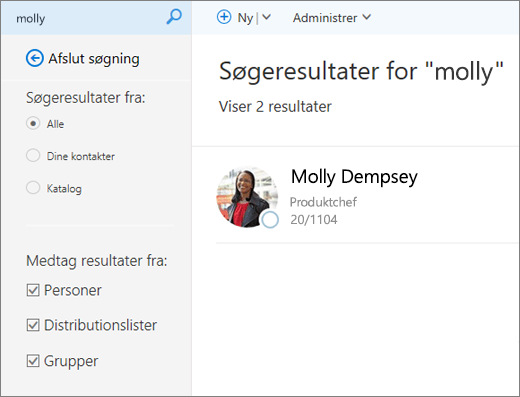 Et skærmbillede af søgeresultater på siden Personer.